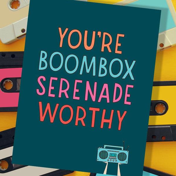 80's Boombox Serenade Romance Card