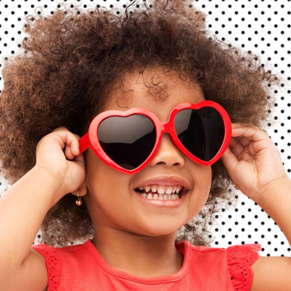 For Kids + Adults Red Hot Heart-Shaped Sunglasses