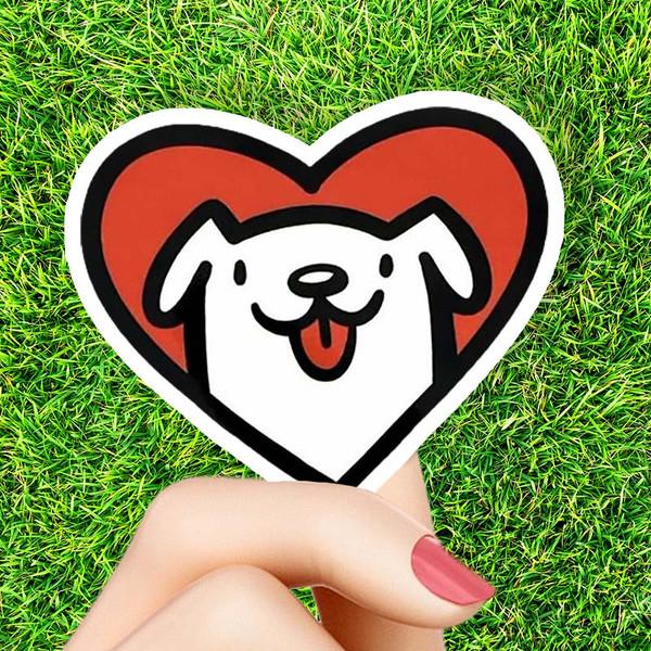Dog Love Heart Sticker