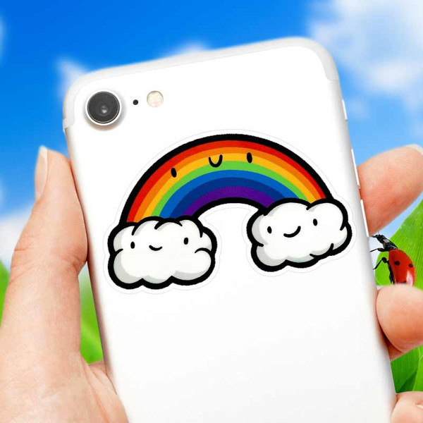 Kawaii Rainbow Cloud Phone and Laptop Sticker