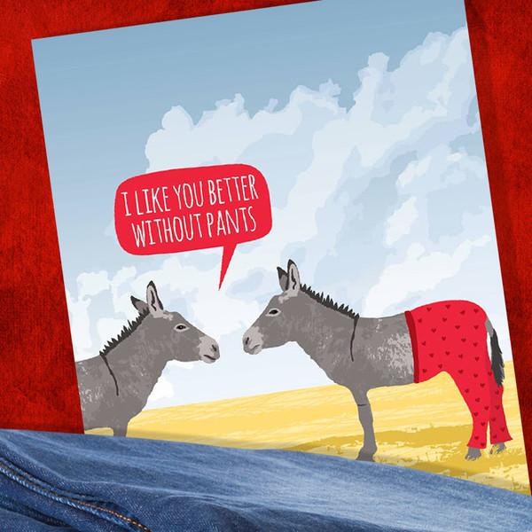 Donkey I Like You Better Without Pants Card