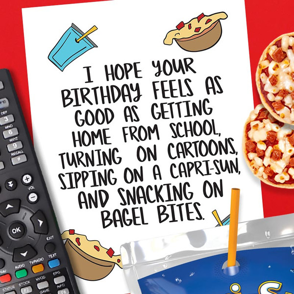 1980's Kid Pizza Bagel Bites Birthday Card