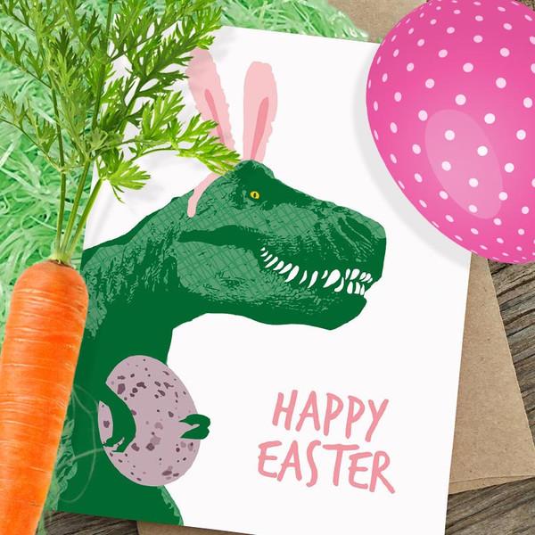 T-Rex Dinosaur Bunny Happy Easter Card