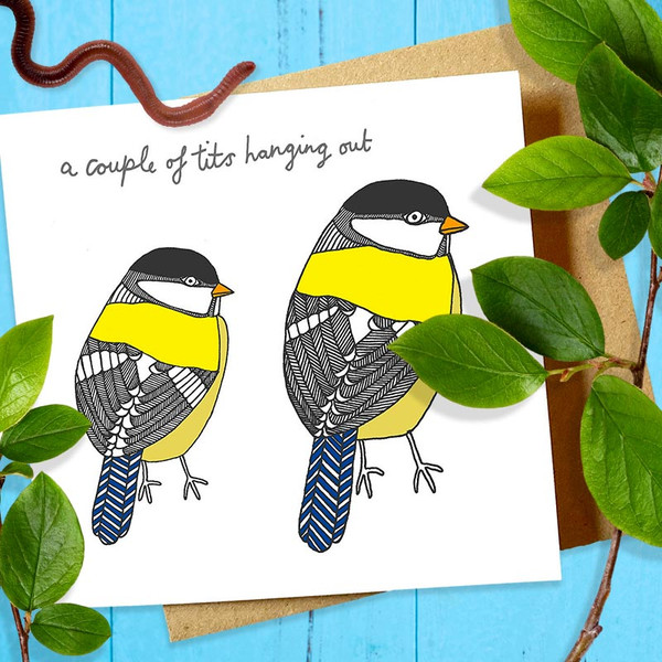 A Couple of Tits Fowl Bird Greeting Card