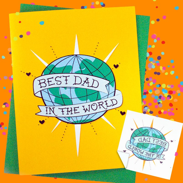 Best Dad In The World Greeting Card + Temporary Tattoo