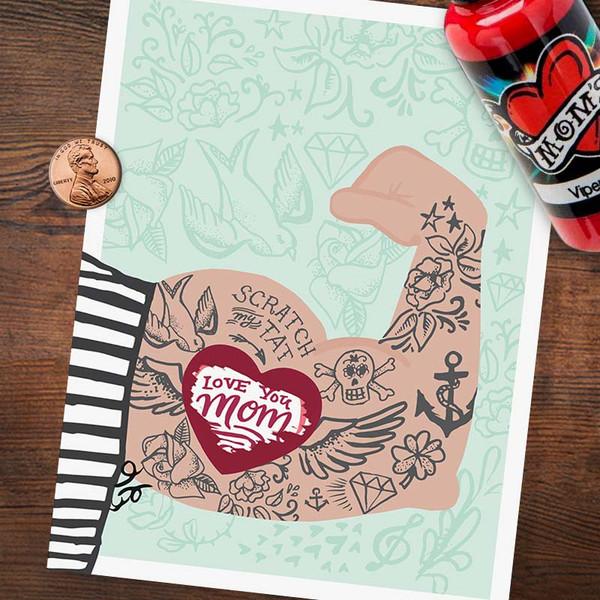 Fun Mom Tattoo Mother's Day Card