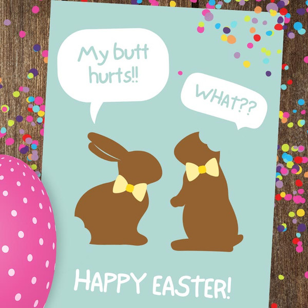 Funny Chocolate Easter Bunny Greeting Card