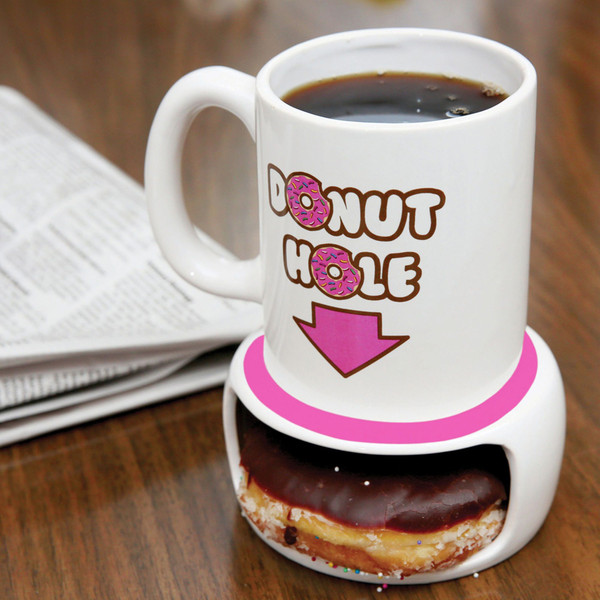 Coffee and a Donut Coffee Mug - Hold your donut and keep it warm!