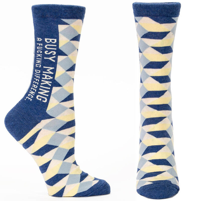 Busy Making A F*cking Difference Blue Q Socks