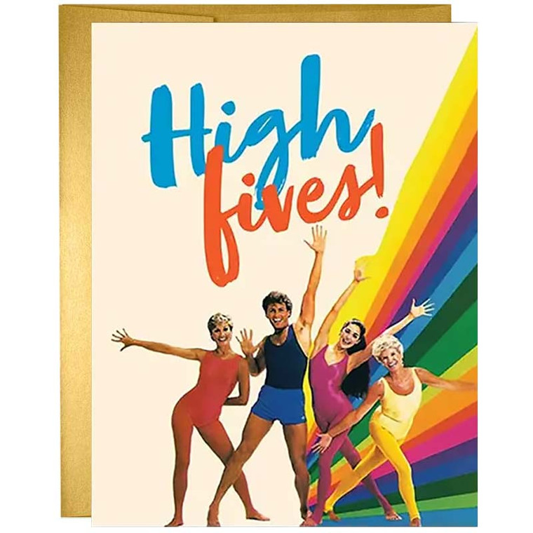 High Fives 80's Aerobics Greeting Card