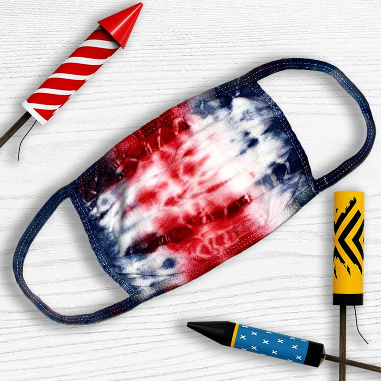 Red, White + Blue Fourth of July Fireworks Tie-Dye Mask