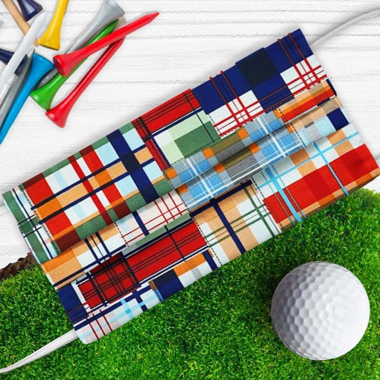 Golfer's fun plaid golf mask!