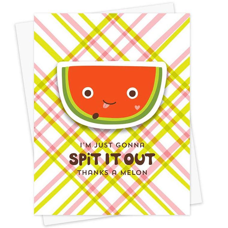 Thanks A Melon Sticker Greeting Card