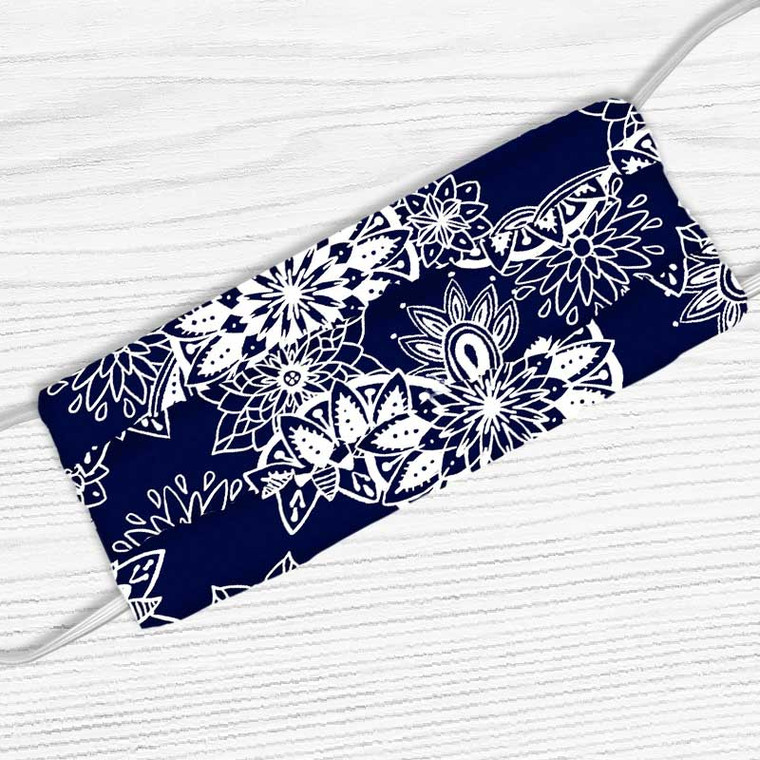 Navy Blue With White Mandala Print Face Mask