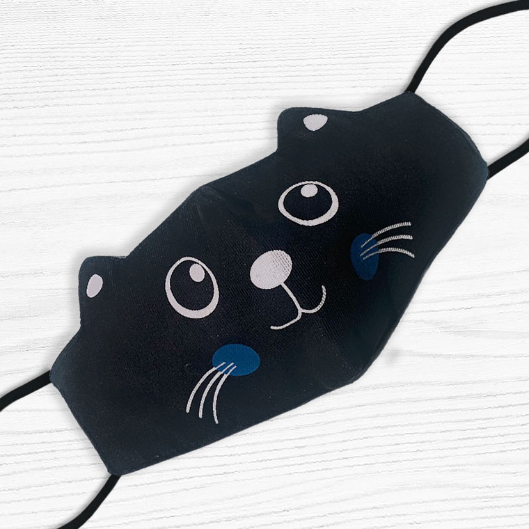 Kid's Black Cat Face Mask