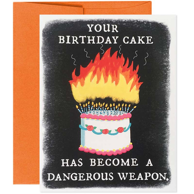 Funny Birthday Card for Adults - Your Cake Is A Dangerous Weapon