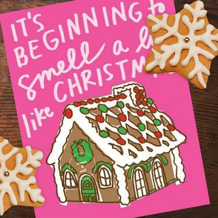 Scratch & Sniff Gingerbread House Christmas Card
