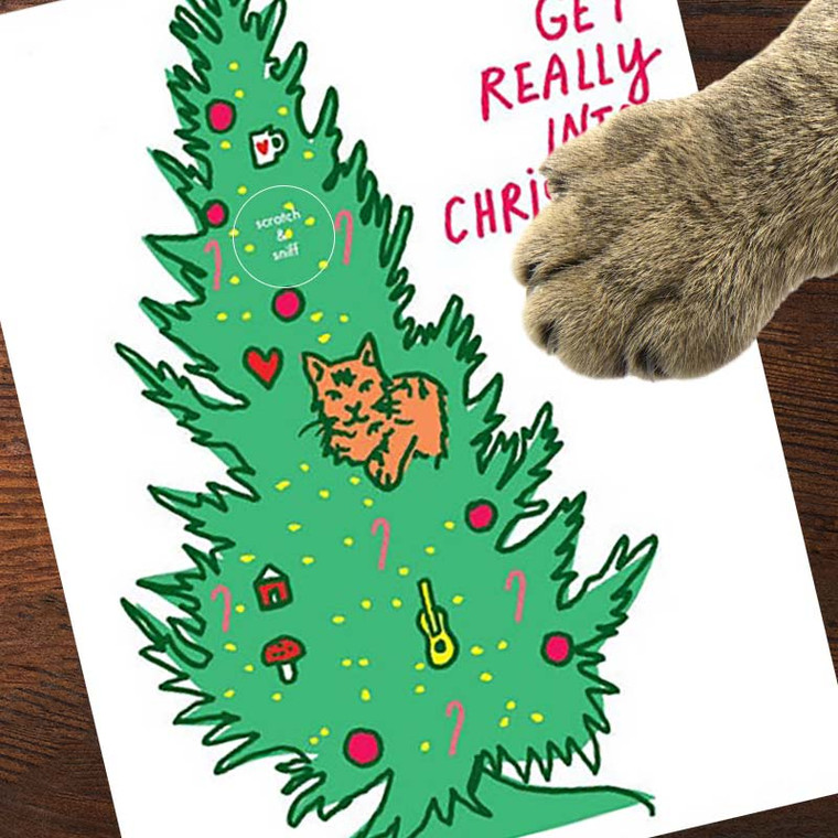Scratch & Sniff Cat Tree Christmas Card