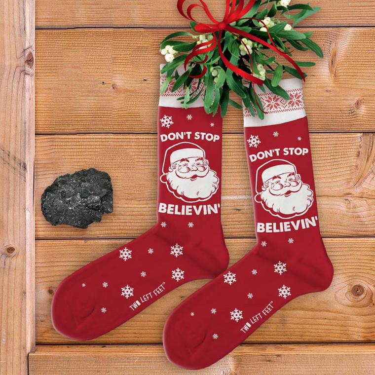 Don't Stop Believin' (in Santa) Women's Christmas Socks