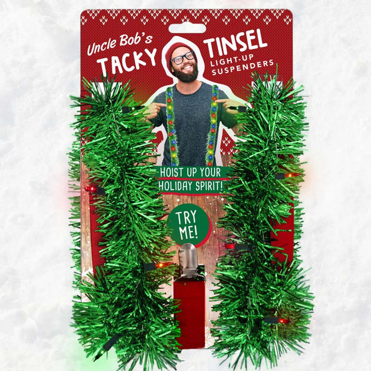 Tacky Tinsel Light-Up Suspenders