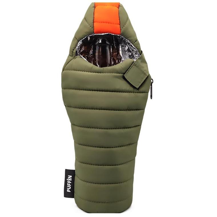 Puffin Sleeping Bag Beverage Koozie