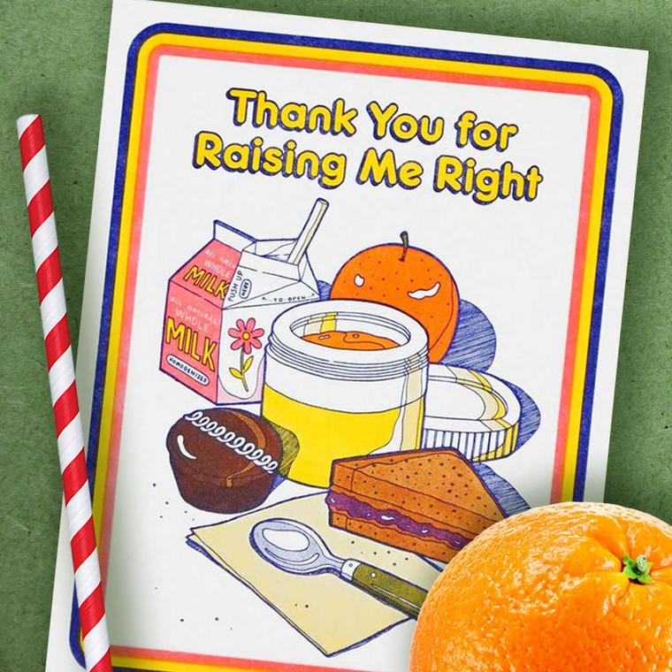Retro School Lunch - Thank You Greeting Card