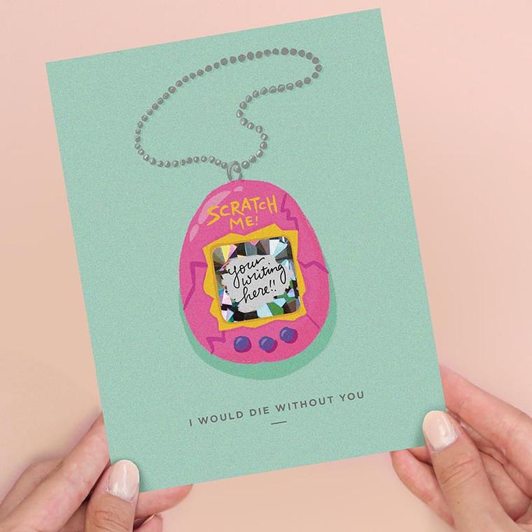 Tamagotchi Scratch-off Valentine's Day Card