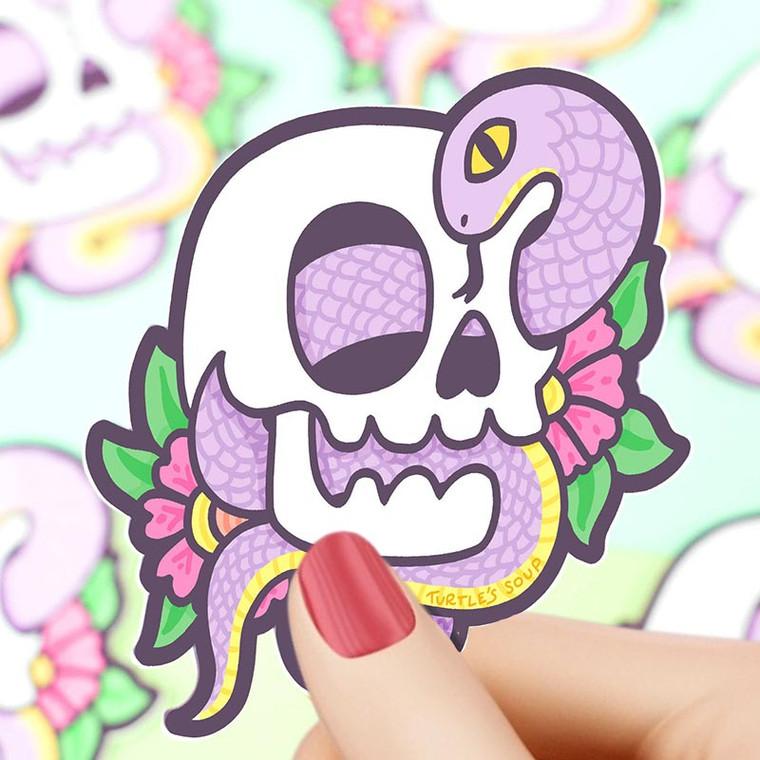 Tattoo Art: Floral Skull Snake Vinyl Sticker