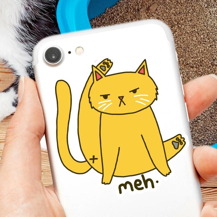Meh. Funny Cat Butt Vinyl Sticker