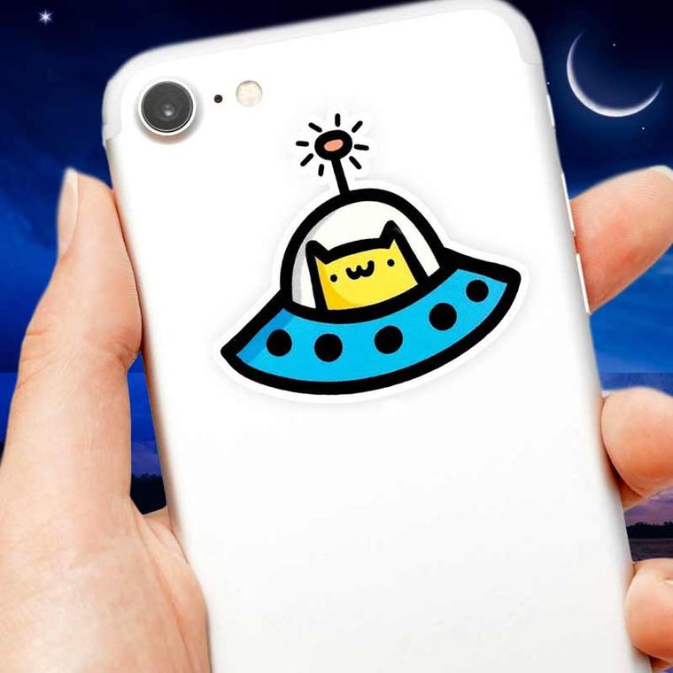 Mini Space Cat UFO Sticker