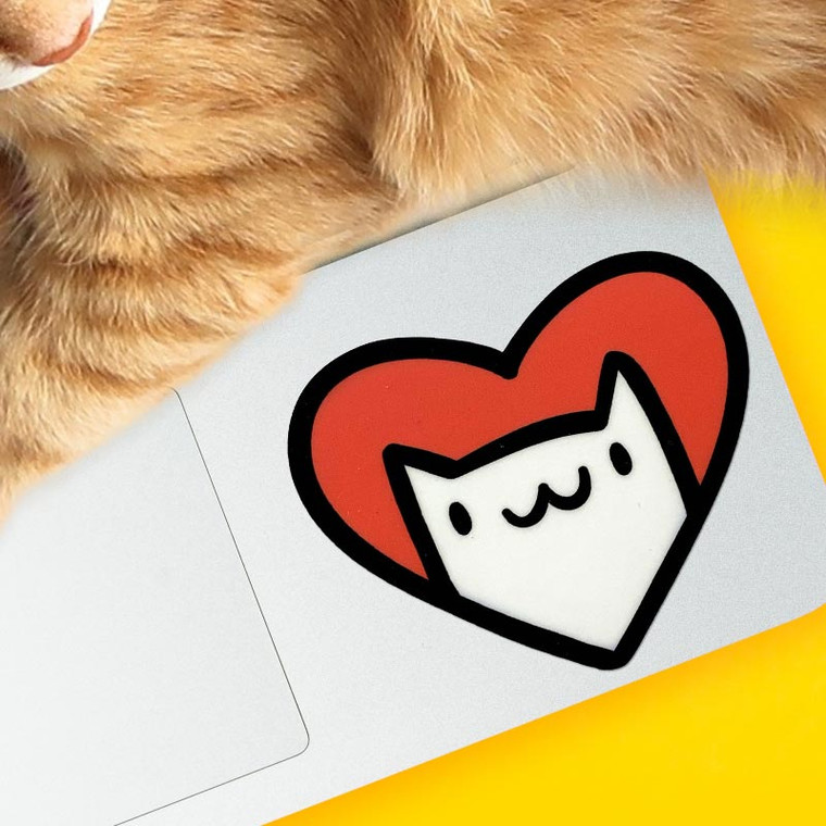 Cat Heart Vinyl Sticker.  Great for laptops!