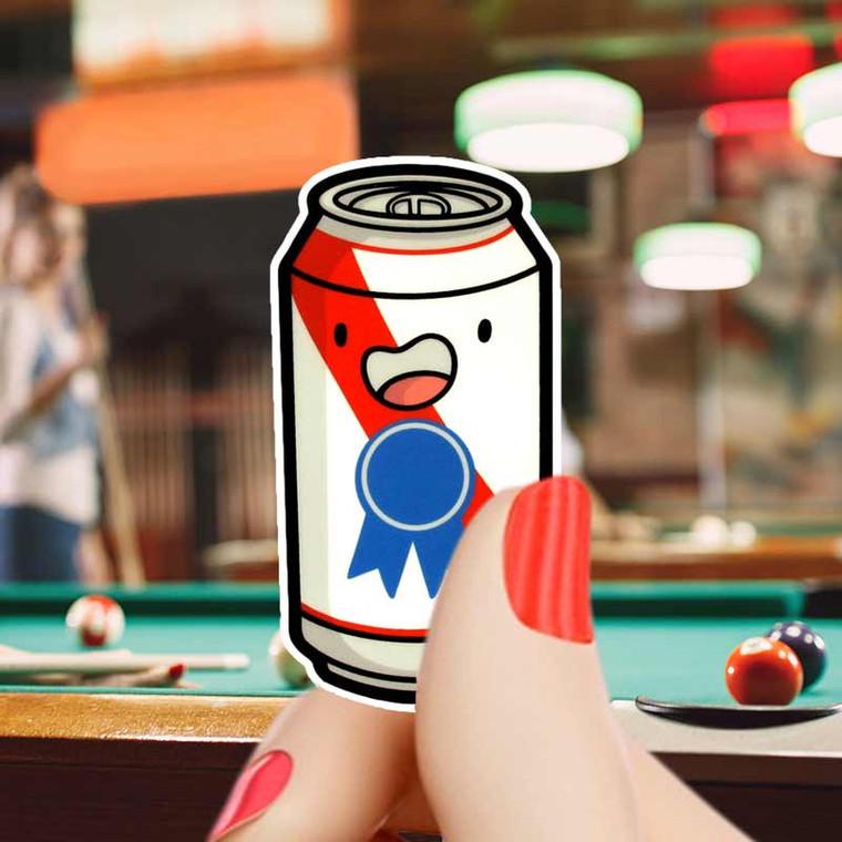 Beer! Mini Beer Can Sticker