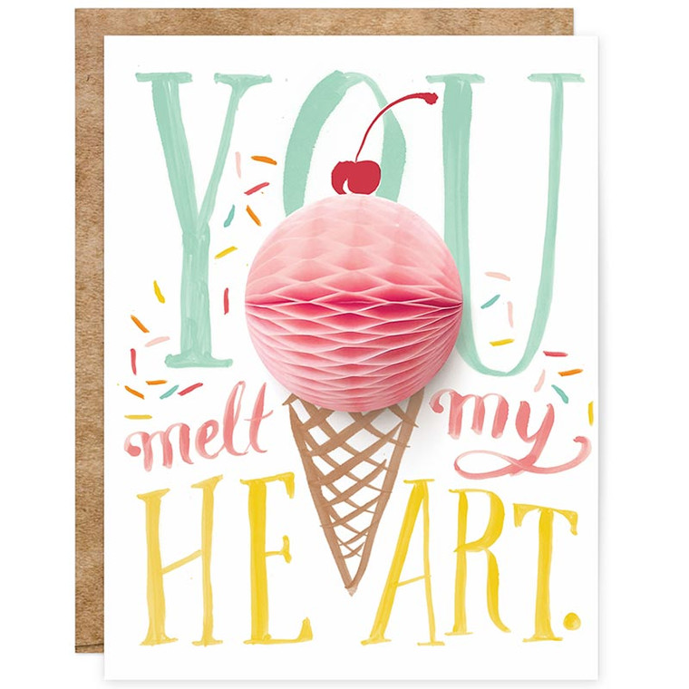 You Melt My Heart Ice Cream Cone Pop-up Card