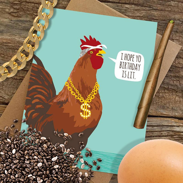 Funny Birthday Card: Lit Gangsta Rooster Birthday Card