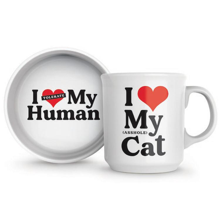 I Love My Cat Howligans Mug & Bowl Set by Fred