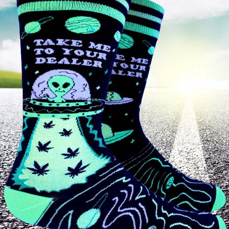 Take Me To Your Dealer Men's Marijuana UFO Socks