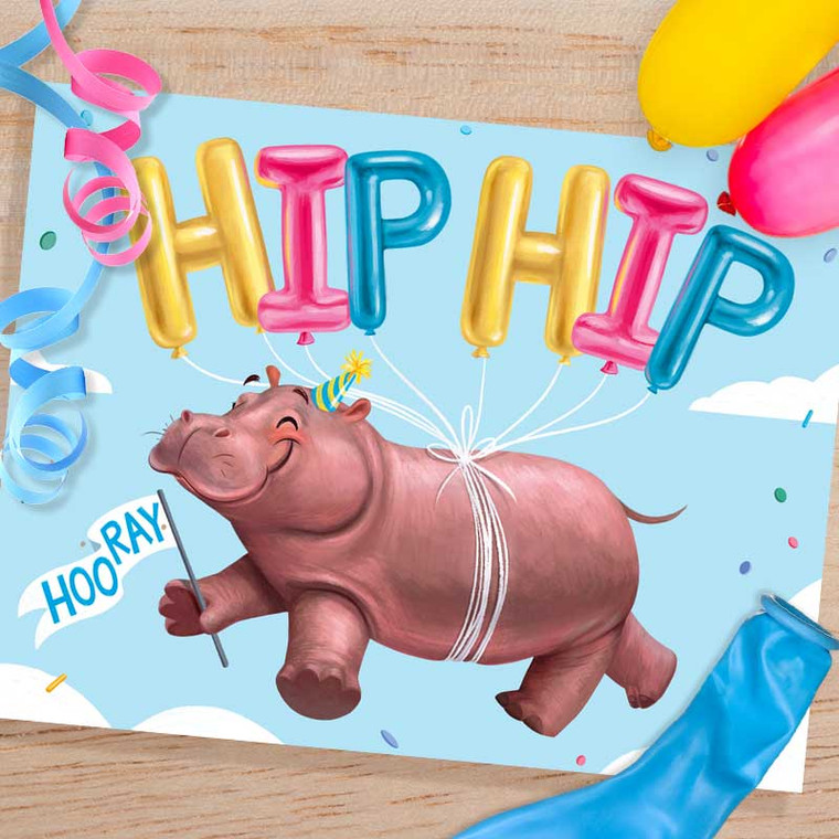 Hippo Hip Hip Hooray Celebration Card