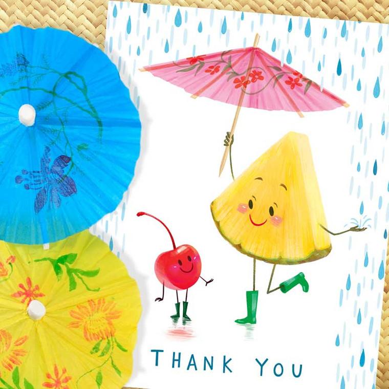Retro Art - Tiki Cocktail Fruit Thank You Card