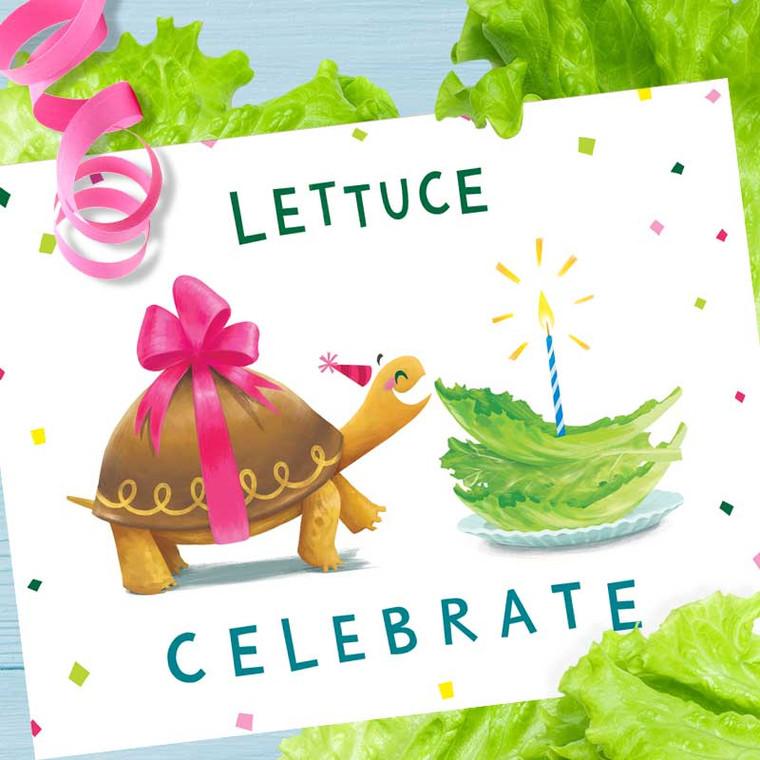 Lettuce Celebrate Turtle Funny Pun Birthday Card