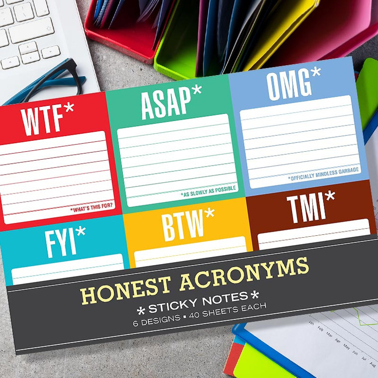Swearing Honest Acronyms Sticky Note Packet
