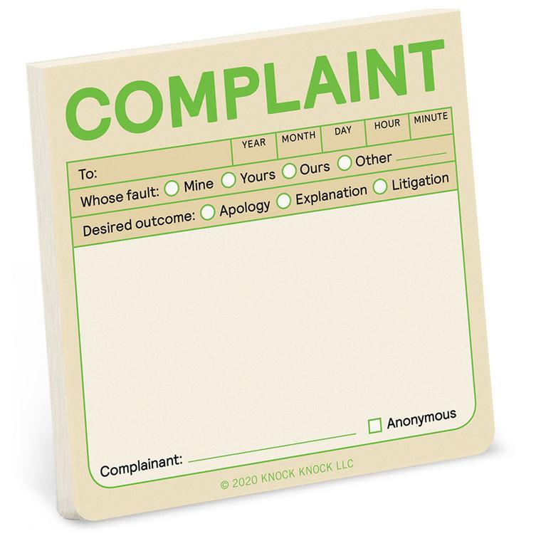 Complaint Sticky Note
