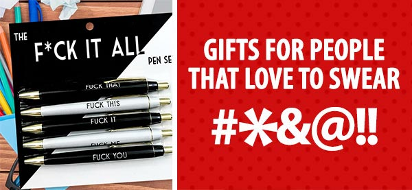 Gifts + greeting cards with swear words.