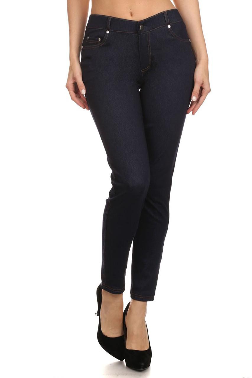 189bcfd8188f2 Five Pocket Blue Demin Jean leggings - LA12ST
