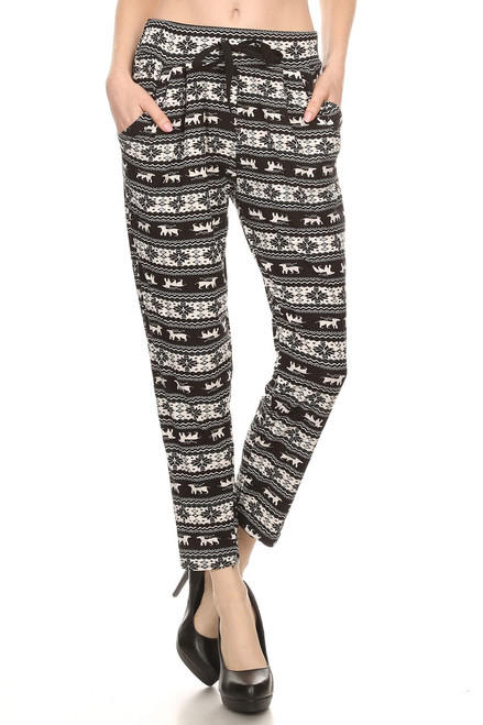 Black and White Reindeer Jogger