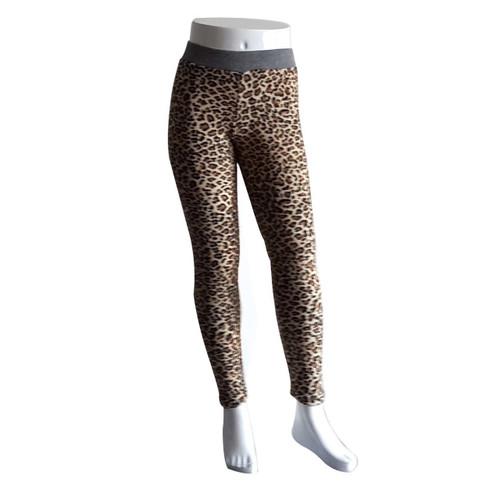 Gray Waistband Leopard Printed Leggings for Kids