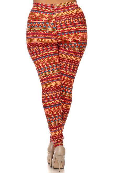 Orange Aztec Plus Size Printed Leggings