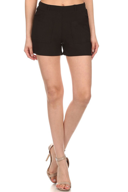 Flat Front High Rise Stretch Spadex Cady Short Pull On Relaxed Leg
