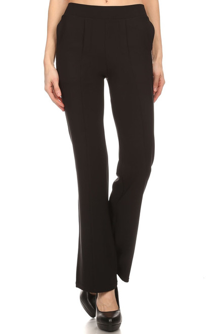 Black Mid Rise Straight Pants