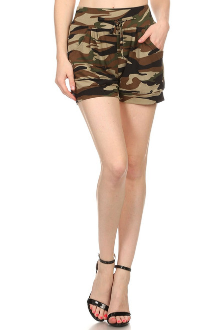 Green Camouflage Pleated Cuff Shorts Drawstring One Size