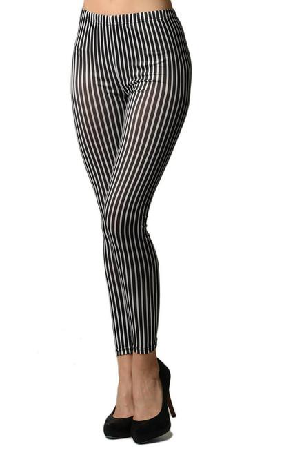 Black Stripe Printed Leggings
